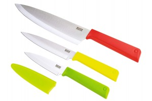 Set 3 couteaux Kuhn Rikon COLORI+ Classic Office + Universel + Chef